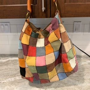Lucky Brand Vintage inspired patchwork hobo